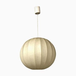 Plastic and Metal Spherical Cocoon Pendant Lamp, 1960s