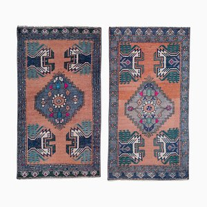 Vintage Turkish Oushak Yastik Rugs, 1970s, Set of 2