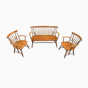 Juego de banco y sillas de olmo macizo Windsor, años 70. Juego de 3