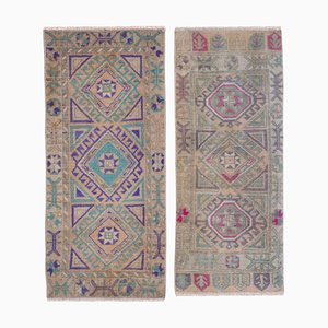 Vintage Turkish Faded Yastik Rugs, 1970s, Set of 2