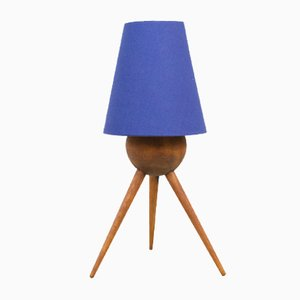 Mid-Century Walnut Tripod Table Lamp with Blue Shade, 1960s