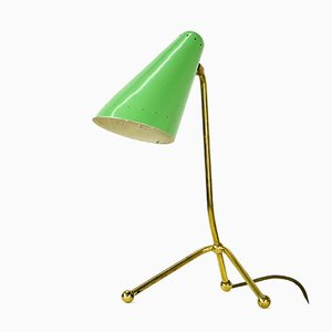Dreibeinige Tischlampe aus Messing & Stahl, 1950er