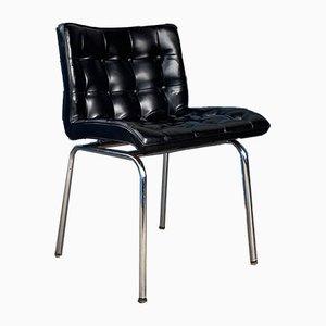 Schwarze 62 Kunstleder Esszimmerstühle von René Jean Caillette für Charron, 1960er, 2er Set