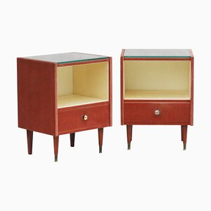 Mid-Century French Velvet Nightstands, 1960s, Set of 2