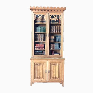 19th Century Gothic Style Bleached Oak Bookcase