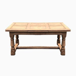 Large Bleached Oak Farmhouse Draw Leaf Dining Table