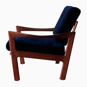 Sessel aus Teak & blauem Samt von Illum Wikkelsø für Niels Eilersen, 1960er