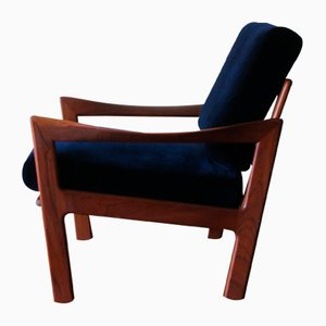 Teak and Blue Velvet Lounge Chair by Illum Wikkelsø for Niels Eilersen, 1960s
