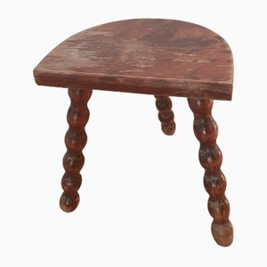 Vintage Solid Oak Tripod Stool