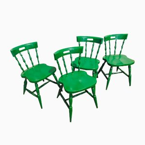 Mid-Century Dutch Green Dining Chairs, Set of 4