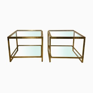 Vintage Brass and Glass Coffee Tables, Set of 2