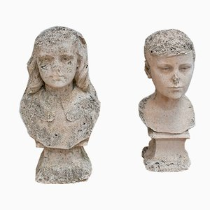 Plaster Busts of Children, 1940s, Set of 2
