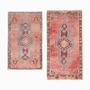 Vintage Soft Pastel Colors Woolen Oushak Rugs, 1970s, Set of 2