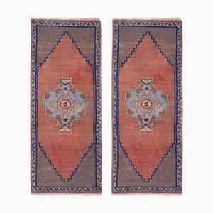Kleine handgefertigte türkische Fußmatten, 1970er, 2er Set