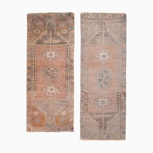 Small Turkish Distressed Low Pile Faded Colors Yastik Rugs, 1970s, Set of 2