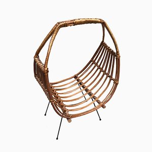 Mid-Century Wicker and Bamboo Magazine Rack, 1950s