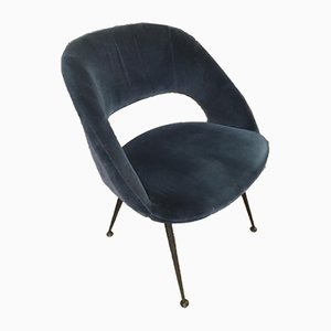 Blue Velvet Tonneau Armchairs by Pierre Guariche, 1960s, Set of 6