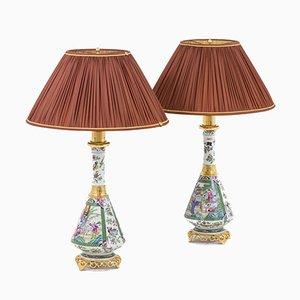 Table Lamps in Canton Porcelain, 1880s, Set of 2
