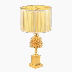 Pinecone Table Lamp in Gilt Bronze Attributed to Maison Charles, 1970s