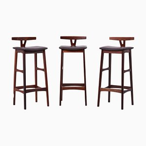 WOod and Leather Barstools by Erik Buch for Dyrlund, Denmark, 1960s, Set of 3