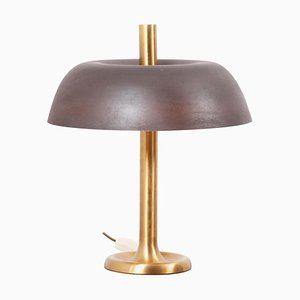 Brass Table Lamp with Brown Shade from Hillebrand, Germany, 1960s