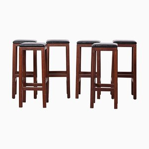 Mid-Century Modern Wood and Leather Barstools, 1960s, Set of 6