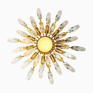 Italienische Deckenlampe aus Kristallglas & vergoldetem Messing von Stilkronen, 1970er