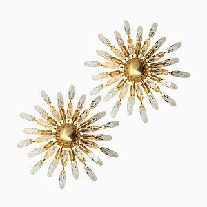 Italienische Kristallglas und Vergoldeter Messing Leuchten von Stilkronen, 1970er, 3er Set