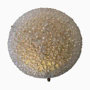 Massive Bubble Wandleuchte aus Handglas von Hillebrand, 1969