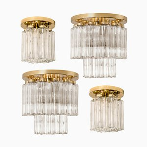 Brass and Glass Lights Fixtures by Glashütte Limburg, 1960s, Set of 4