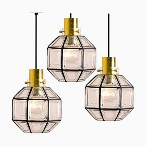 Iron and Clear Glass Light Pendant Lamps by Glashütte Limburg, 1960s, Set of 3