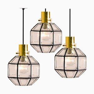 Lampes à Suspension en Verre Transparent et en Fer par Glashütte Limburg, 1960s, Set de 3