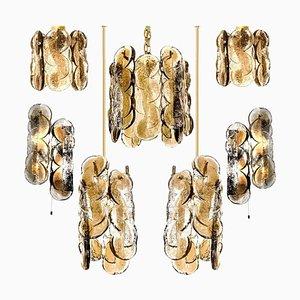 Citrus Swirl Rauchglas Kronleuchter mit 6 Leuchten von Kalmar Lighting, 1960er, 6er Set
