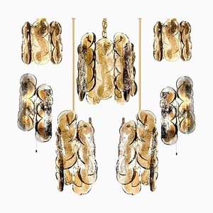 Citrus Swirl Smoked Glass 6-Light Chandeliers by Kalmar Lighting, 1960s, Set of 6
