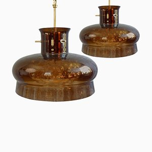 Pendant Lamps in Brown and Bubble Glass by Carl Fagerlund for Orrefors, 1969, Set of 2