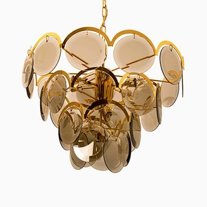 Large Smoked Glass and Brass Chandelier in the Style of Vistosi, Italy, 1970s