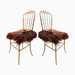 Italian Massive Brass & Iceland Upholstery Chairs by Chiavari, 1960s, Set of 2