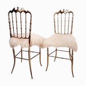 Sedie in ottone massiccio e stoffa Iceland di Chiavari, Italia, anni '60, set di 2