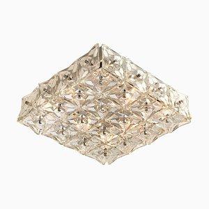 Große vernickelte Deckenlampe aus Kristallglas von Kinkeldey, 1970er