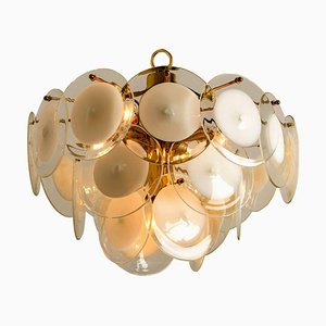 White Hand Blown Glass and Brass Chandelier in the Style of Vistosi, Italy, 1970s