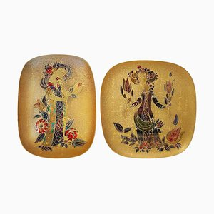 Hand-Painted Gilded Platters by Bjørn Wiinblad, 1960s, Set of 2