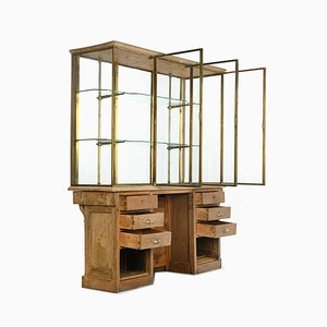 Schrank aus Glasierter Holz und Messing