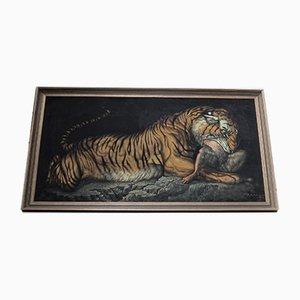 Tiger Gemälde Öl auf Leinwand von Rani, 1970er