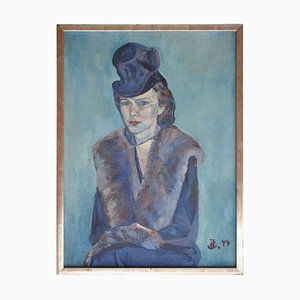 Impressionistisches Frauenporträt in Blauem Ölgemälde, 1944