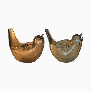 Mundgeblasene schillernde Vögel aus goldenem Kristallglas von Paolo Venini, 1930er, 2er Set