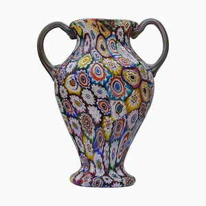 Murano Millefiori Glass Double Handled Monumental Vase by Fratelli Toso, 1920s