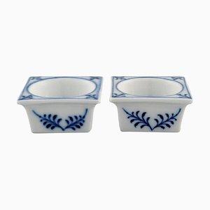 Antique Meissen Blue Onion Salt Cellars in Hand-Painted Porcelain, Set of 2