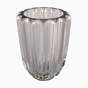 Art Deco Vase in Clear Art Glass by Pierre d'Avesn, 1940s