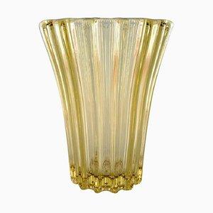Art Deco Vase aus gelbem Kunstglas von Pierre d'Avesn, 1940er