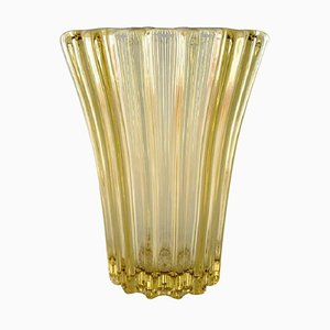 Vase Art Deco en Verre Art Jaune par Pierre d'Avesn, 1940s